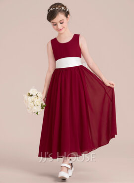 Empire A-Line Scoop Neck Ankle-Length Chiffon Junior Bridesmaid Dress With Sash Bow(s) (009130510)