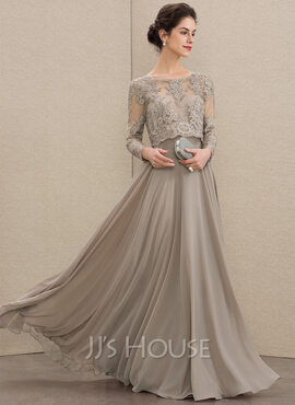 A-Line Scoop Neck Floor-Length Chiffon Lace Mother of the Bride Dress With Sequins (008179186)