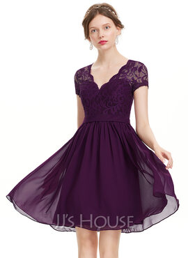A-Line V-neck Knee-Length Chiffon Homecoming Dress (022120494)