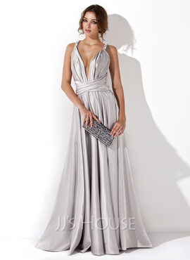 A-Line/Princess V-neck Floor-Length silk like satin Evening Dress With Ruffle (017020657)