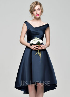 A-Line Off-the-Shoulder Asymmetrical Satin Bridesmaid Dress With Ruffle (007072804)