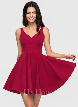 A-Line V-neck Short/Mini Stretch Crepe Prom Dresses (018192830)