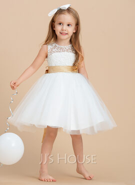 A-Line Knee-length Flower Girl Dress - Satin/Tulle/Lace Sleeveless Scoop Neck With Sash/Bow(s)/Back Hole (010091208)
