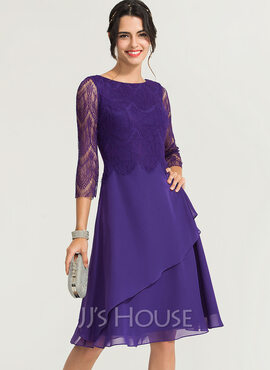 A-Line Scoop Neck Knee-Length Chiffon Cocktail Dress (016170846)