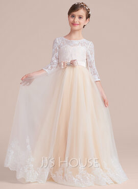 Ball-Gown/Princess Scoop Neck Floor-Length Tulle Lace Junior Bridesmaid Dress With Sash Beading Bow(s) (009130499)