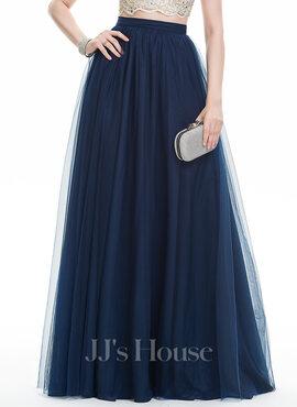 A-Line Floor-Length Tulle Prom Skirt
