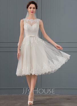 A-Line Illusion Knee-Length Tulle Wedding Dress With Bow(s) (002134807)