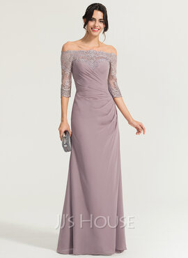Sheath/Column Off-the-Shoulder Floor-Length Chiffon Evening Dress With Ruffle (017167681)