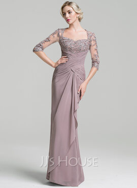 Trumpet/Mermaid Sweetheart Floor-Length Chiffon Mother of the Bride Dress With Ruffle Cascading Ruffles (008091950)
