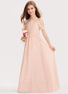 A-Line V-neck Floor-Length Chiffon Junior Bridesmaid Dress With Ruffle Bow(s) (009191694)