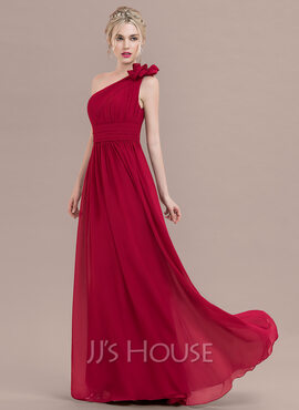 A-Line One-Shoulder Floor-Length Chiffon Prom Dresses With Ruffle Flower(s) (018125030)