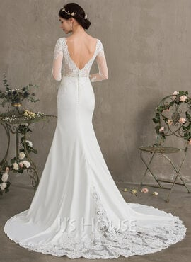 Trumpet/Mermaid Scoop Neck Chapel Train Stretch Crepe Wedding Dress With Beading Sequins (002186377)