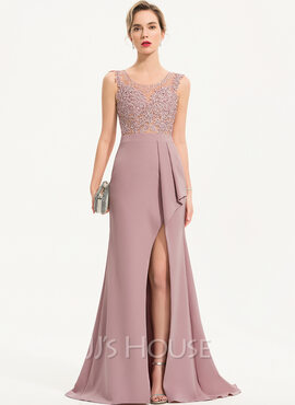 Trumpet/Mermaid Scoop Neck Sweep Train Stretch Crepe Evening Dress With Beading Sequins Split Front (017186147)
