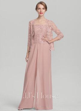 Jumpsuit/Pantsuit Square Neckline Floor-Length Chiffon Lace Mother of the Bride Dress (008131952)