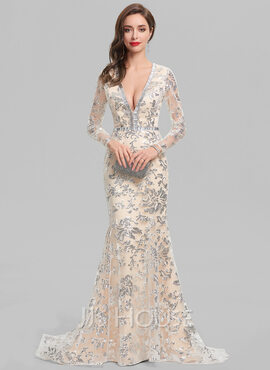 Trumpet/Mermaid V-neck Sweep Train Lace Evening Dress With Beading (017137376)