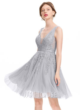 A-Line V-neck Knee-Length Tulle Homecoming Dress With Beading Sequins (022120473)
