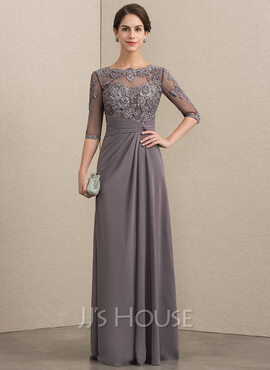 A-Line Scoop Neck Floor-Length Chiffon Lace Evening Dress With Beading Sequins (017192573)