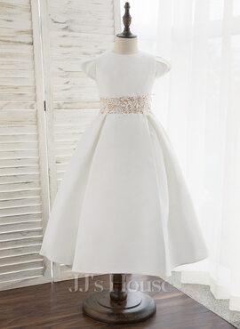 A-Line Tea-length Flower Girl Dress - Satin Short Sleeves Scoop Neck (010172359)