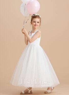 Ball Gown Ankle-length Flower Girl Dress - Satin/Tulle Sleeveless Square Neckline (010094107)