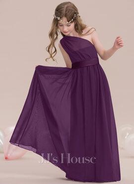 A-Line One-Shoulder Floor-Length Chiffon Junior Bridesmaid Dress With Ruffle (009119590)