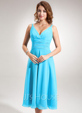 A-Line/Princess V-neck Tea-Length Chiffon Bridesmaid Dress With Ruffle (007001896)