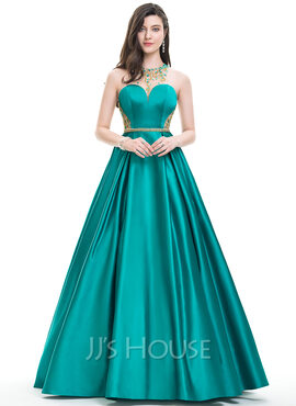 Ball-Gown/Princess Scoop Neck Floor-Length Satin Prom Dresses With Beading Sequins (018105565)