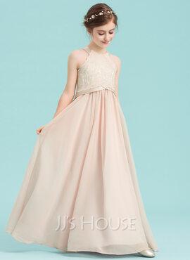 A-Line Scoop Neck Floor-Length Chiffon Junior Bridesmaid Dress (009148412)