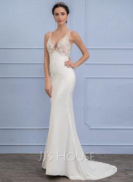 Empire V-neck Sweep Train Stretch Crepe Wedding Dress (002107835)