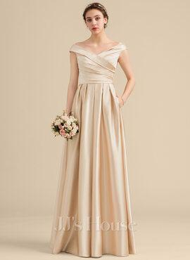 A-Line/Princess Off-the-Shoulder Floor-Length Satin Bridesmaid Dress With Ruffle Pockets (007153324)