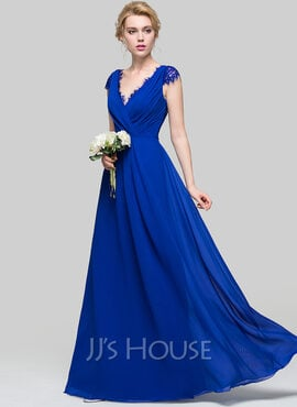 A-Line V-neck Floor-Length Chiffon Bridesmaid Dress With Ruffle (007090176)