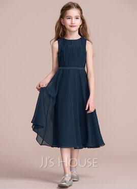 A-Line Scoop Neck Tea-Length Chiffon Junior Bridesmaid Dress With Ruffle (009097066)