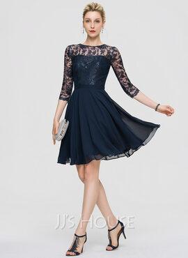 A-Line Scoop Neck Knee-Length Chiffon Cocktail Dress (016189322)