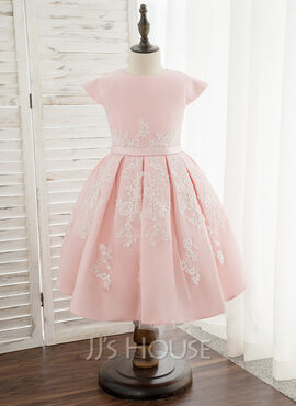 A-Line Knee-length Flower Girl Dress - Satin/Lace Sleeveless Scoop Neck (010172336)