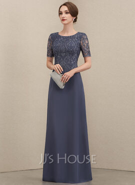 A-Line Scoop Neck Floor-Length Chiffon Lace Mother of the Bride Dress (008204924)