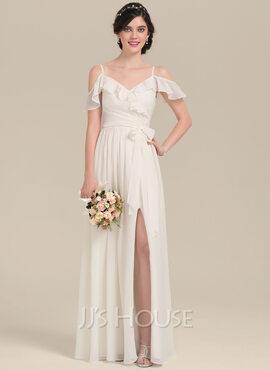 A-Line V-neck Floor-Length Chiffon Bridesmaid Dress With Bow(s) Split Front Cascading Ruffles (007126462)