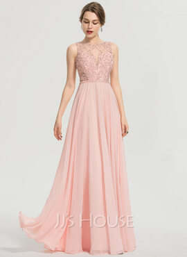 A-Line Scoop Neck Floor-Length Chiffon Prom Dresses With Beading Sequins (018192349)