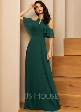 A-Line Scoop Neck Floor-Length Chiffon Bridesmaid Dress (007206455)