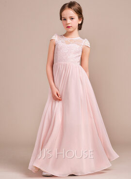 A-Line Scoop Neck Floor-Length Chiffon Lace Junior Bridesmaid Dress (009081155)