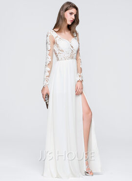 A-Line/Princess Sweetheart Floor-Length Chiffon Prom Dresses With Split Front (018093848)