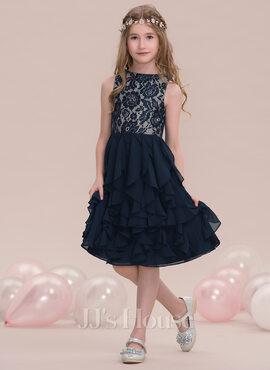 A-Line Scoop Neck Knee-Length Chiffon Junior Bridesmaid Dress With Cascading Ruffles (009119604)