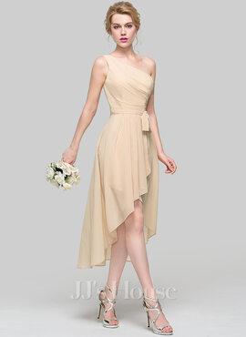 A-Line One-Shoulder Asymmetrical Chiffon Bridesmaid Dress With Ruffle Bow(s) Cascading Ruffles (007090203)