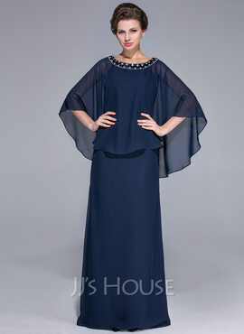 Sheath/Column Scoop Neck Floor-Length Chiffon Mother of the Bride Dress With Beading (008025717)