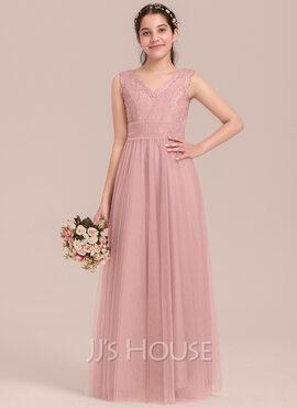 A-Line V-neck Floor-Length Tulle Junior Bridesmaid Dress (009130647)