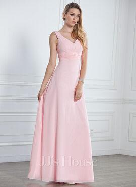 Empire V-neck Floor-Length Chiffon Bridesmaid Dress With Ruffle (007001785)