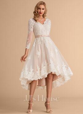 A-Line V-neck Asymmetrical Satin Tulle Lace Wedding Dress (002215658)