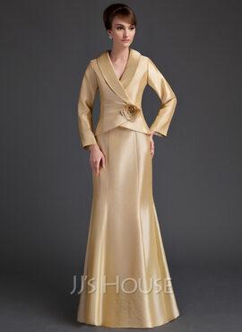 Trumpet/Mermaid V-neck Floor-Length Taffeta Mother of the Bride Dress With Ruffle Flower(s) (008006538)