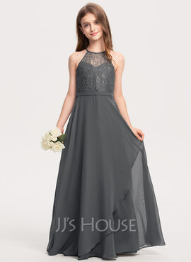 A-Line Scoop Neck Floor-Length Chiffon Lace Junior Bridesmaid Dress With Cascading Ruffles (009208594)