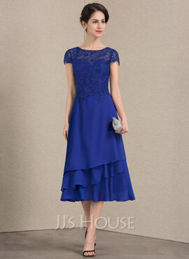 A-Line Scoop Neck Tea-Length Chiffon Lace Mother of the Bride Dress (008143361)