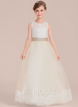 Ball-Gown/Princess Floor-length Flower Girl Dress - Satin/Tulle/Lace Sleeveless Scoop Neck With Sash/Beading (010136608)