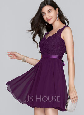 A-Line V-neck Short/Mini Chiffon Homecoming Dress With Bow(s) (022124860)